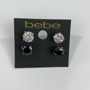 Bebe Black Crystal Stud Earrings NWT $24